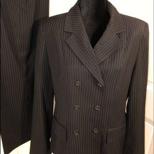 Amanda Smith.  Women's Black Pinstripe Suit